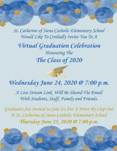 Join us!  Grade 8 Virtual Graduation Celebration!